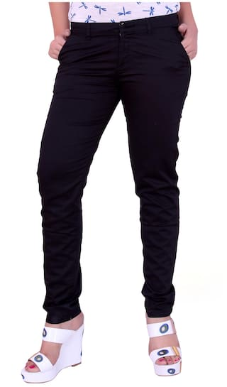 Airwalk Black Cotton Trouser (Size-28)
