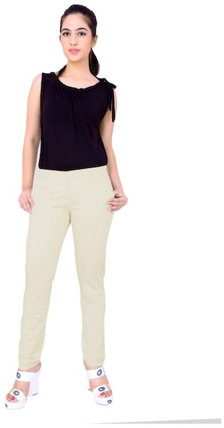 Airwalk Cream Cotton Trouser (Size-28)
