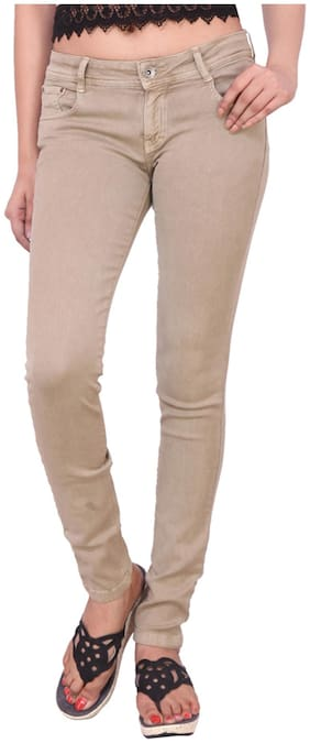 Airways Beige Denim Slim Fit Jeans