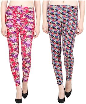 Polyester Floral Leggings Pack of 2