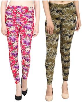 Airya Women's Polyester Ankle Length Leggings (Pack of 2) (Multicolor)