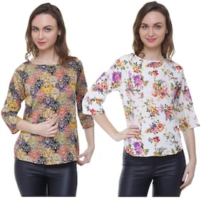 Women Printed Round Neck Top ,Pack Of 2