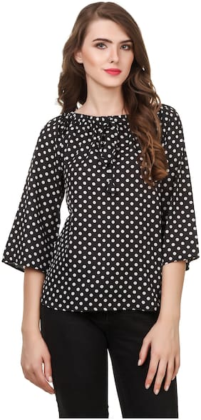 Women Polka Dots Round Neck Top