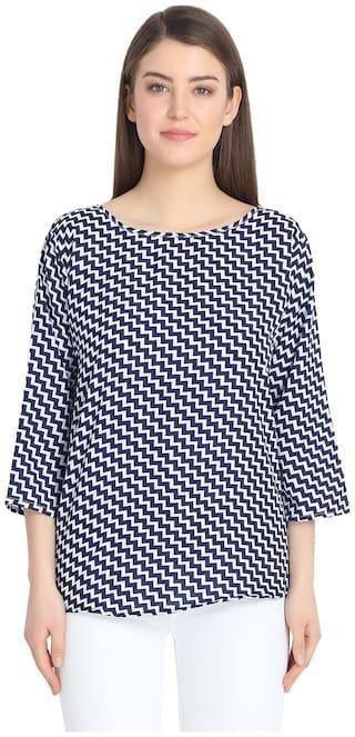 AISA FASHION Women Printed Regular top - Blue
