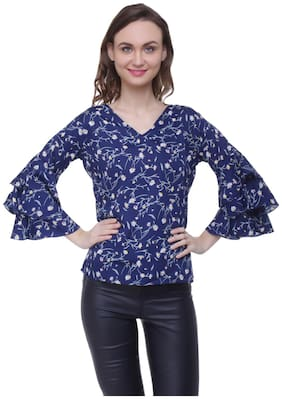 Women Printed V Neck Top ,Pack Of 1