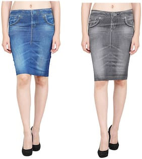 Aiyra Solid Bodycon skirt Mini Skirt - Blue & Grey