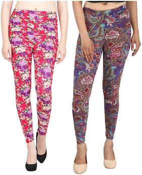 Aiyra Women's Multicolor Color Printed Leggings (Pack of 2) (Multicolor)
