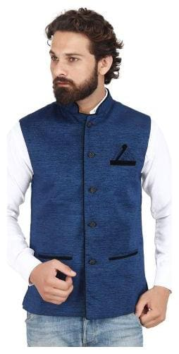 AKAAS Men Blue Solid Regular Fit Ethnic Jacket