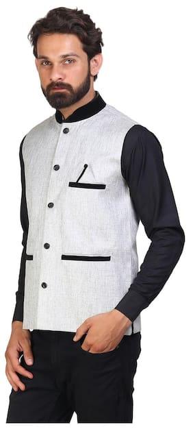 AKAAS Men Regular Fit Blended Sleeveless Solid Ethnic Jackets - White