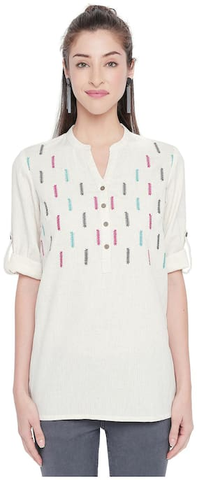 Women Embroidered Mandarin Collar Top ,Pack Of 1