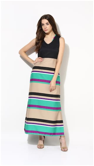 9ddd92aad5c1 Buy AKS Couture Multi Color Striped Maxi Dress Online at Low Prices ...