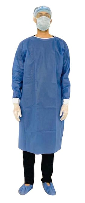 AKTIO PPE Disposable Gown|Blue| Face shield, pair of gloves, shoe pair, cap, disposable 3-ply mask with Free Cloth Mask