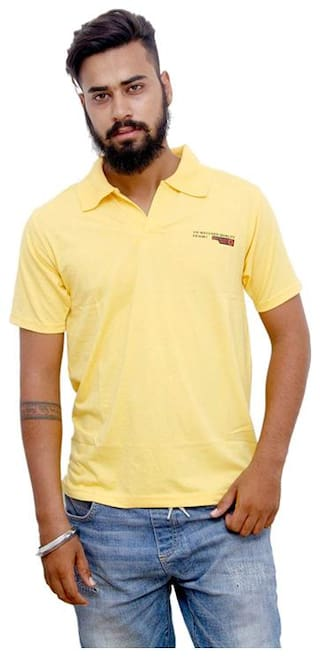 Alagh Fashions Men Yellow Regular fit Cotton Cowl neck T-Shirt - Pack Of 1
