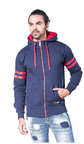 Alan Jones Clothing Men Cotton Hoodie - Blue