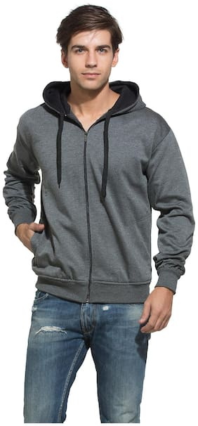 Alan Jones Clothing Men Cotton Hoodie - Grey