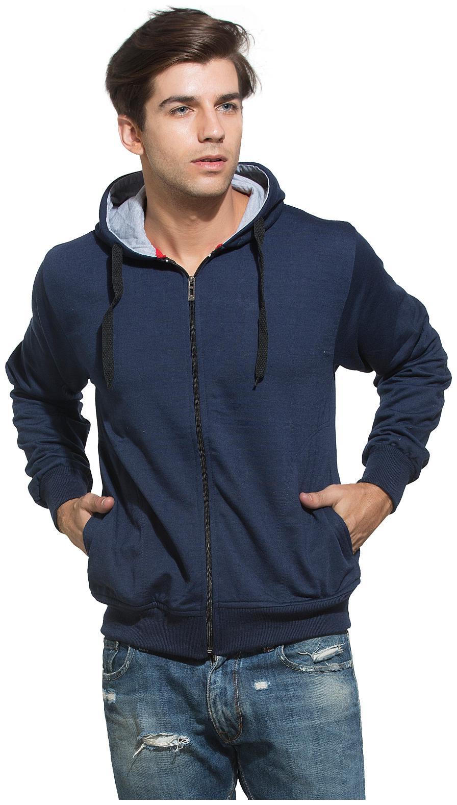 Alan Jones Solid Zipper Hooded Full Sleeve Navy Men's Sweatshirt by Alan Jones Clothing