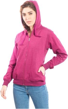 Alan Jones Women Solid Sweatshirt - Purple