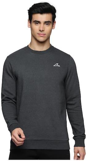 Alcis Men Charcoal Grey Solid Cotton Sweatshirt