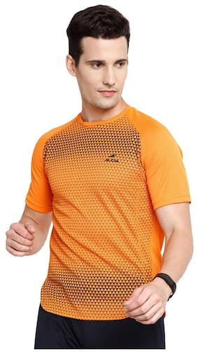 Alcis Men High Neck Sports T-Shirt - Orange