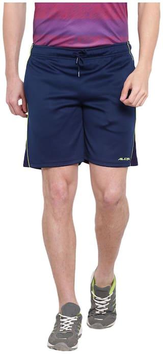 Alcis Men Polyester Solid Navy Blue Shorts