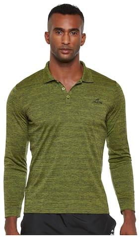 Alcis Men V Neck Sports T-Shirt - Green