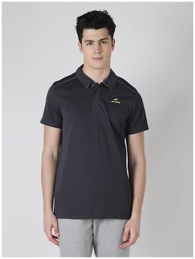 Alcis Mens Grey Solid Polo T-Shirt
