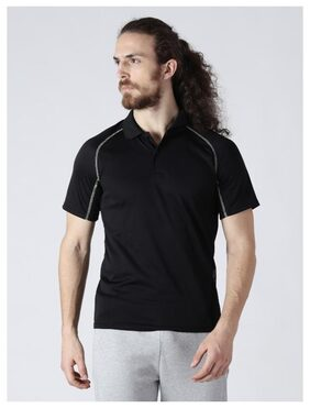 Alcis Men Polo Neck Sports T-Shirt - Black