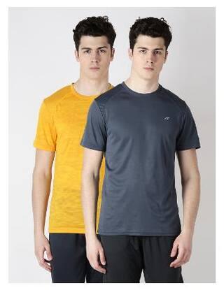 Alcis Men Round Neck Sports T-Shirt - Multi