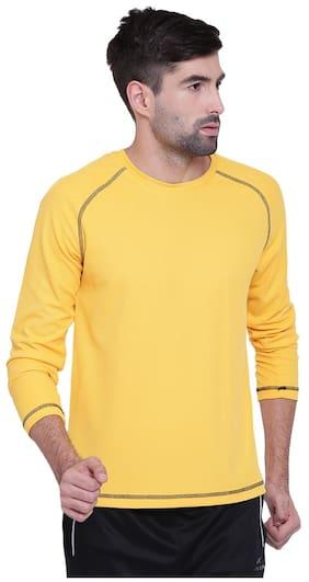 Alcis Men Round Neck Sports T-Shirt - Yellow