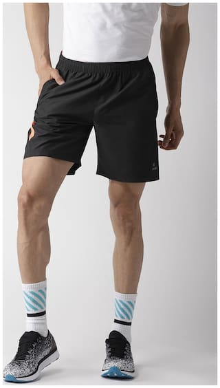 Alcis Polyester Quick Dry Solid Black Sports Shorts & 3/4ths