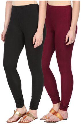 Alena Womens Churidar Length Black/Maroon Color Leggings