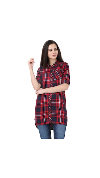 Red Plaid Alibi Shirt for Women 5dxwzvqf