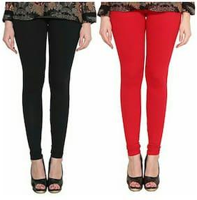 2c62ea8d9998f5 ALISHAH COTTON LYCRA PREMIUM LEGGINGS FOR WOMEN AND GIRL BLACK RED