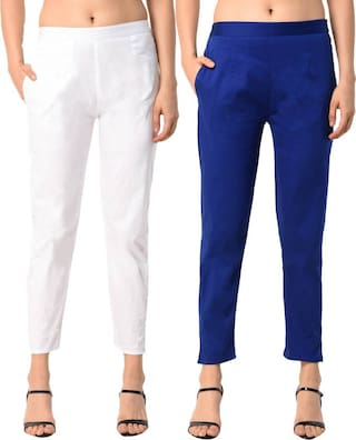 ALISHAH Cotton Lycra Trousers COMBO for Women and Girls;PLUS 15 Colors;Sizes:-M;L;XL;XXL;XXXL
