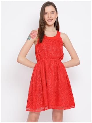 All Ways You Red Embroidered Fit & flare dress