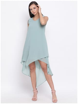 All Ways You Blue Solid Fit & flare dress