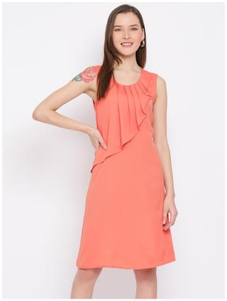 All Ways You Peach Solid Fit & flare dress