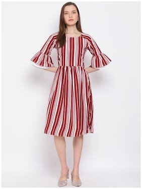 All Ways You Maroon & White Striped Fit & flare dress