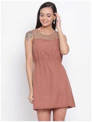 All Ways You Brown Embellished Fit & flare dress