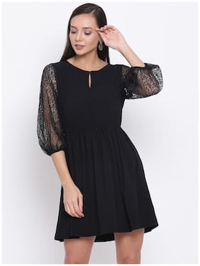 All Ways You Black Solid Fit & flare dress