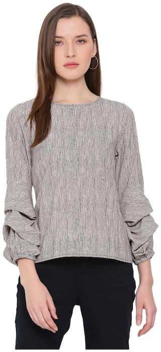 All Ways You Women Striped Regular top - Grey & Black