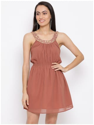 All Ways You Brown Solid Fit & flare dress