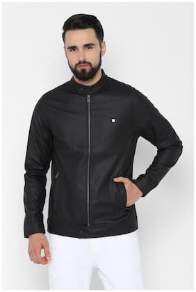 Men Polyester Long Sleeves Leather Jacket