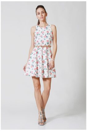 Allen Solly Printed Flared Dress Dress - White