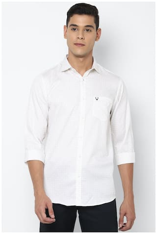 Allen Solly Men White Printed Slim Fit Casual Shirt