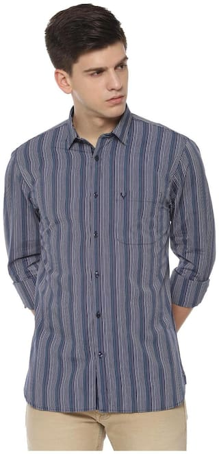 Allen Solly Men Blue Vertical Stripes Slim Fit Casual Shirt