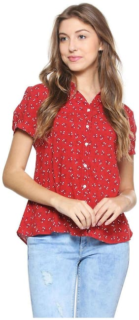 Allen Solly Women Regular fit Printed Shirt - Red