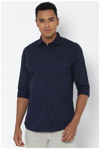 Allen Solly Men Navy Blue Polka Dots Slim Fit Casual Shirt