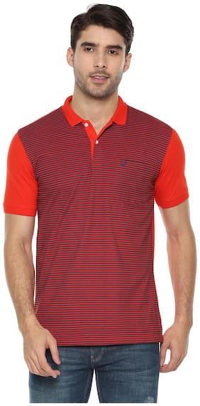 Men Polo Collar Striped T-Shirt