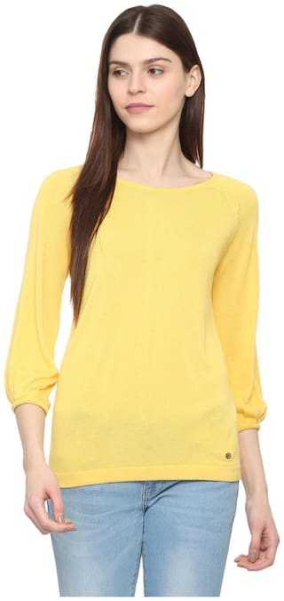 Allen Solly Women Yellow Regular fit Round neck Viscose rayon T shirt